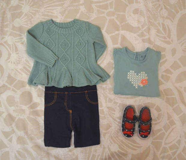 Baby girl clothes flat lay